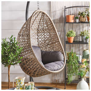 Rattan Hanging Egg Chair Pod, Outdoor Swing Chair With Stand Uk