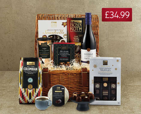 Specially Selected Treats Hamper; A fabulous selection of sweet indulgences, including Moser Roth Marc de Champagne Truffles and Specially Selected ...