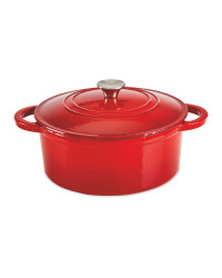 Cast Iron Casserole Dish With Lid - Red