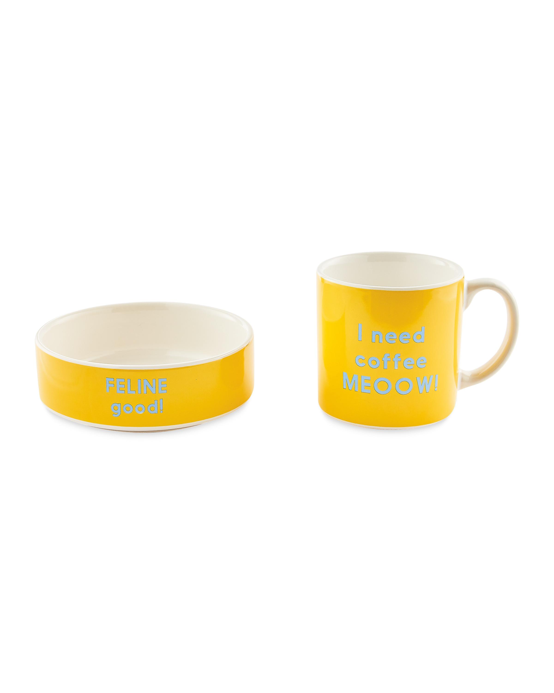 Ceramic Cat Bowl and Mug Gift Set