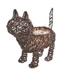 Cat Rattan Effect Animal Planter - Chestnut