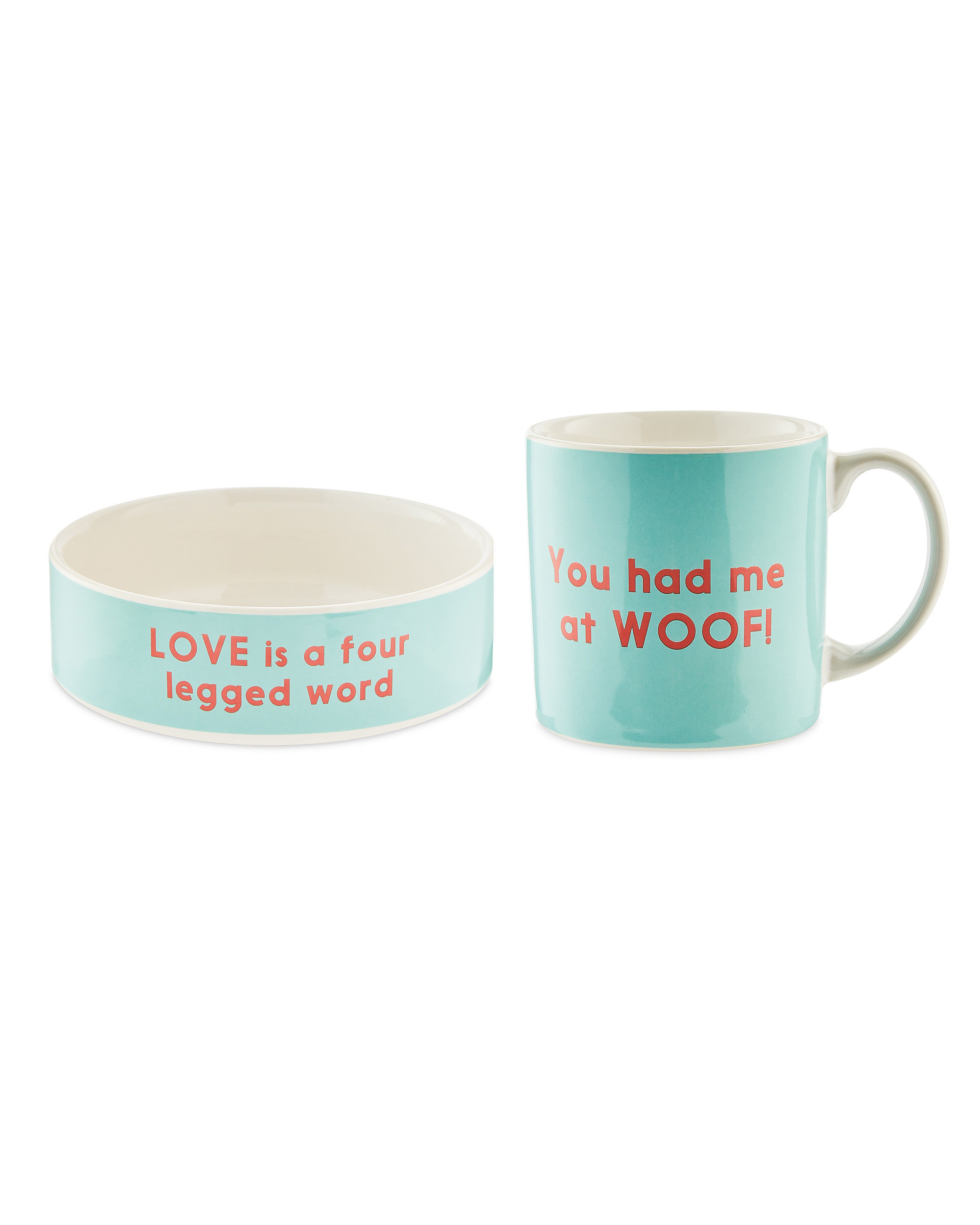 Ceramic Dog Bowl And Mug Gift Set