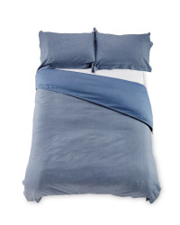 Chambray Double Duvet Set - Blue