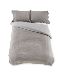 Chambray Double Duvet Set - Grey