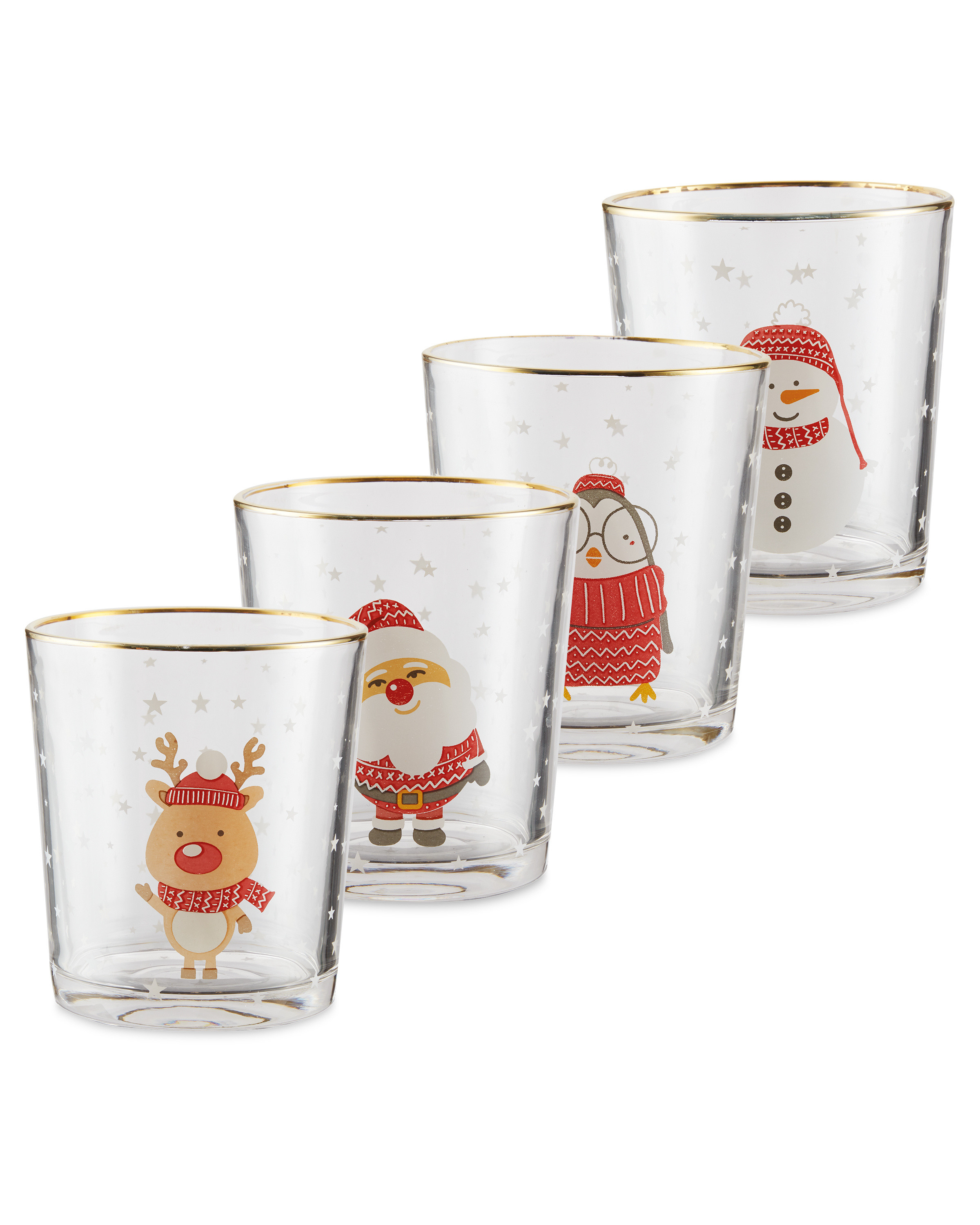 Christmas Glass Tumblers 4 Pack