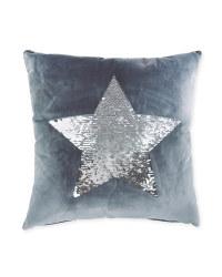 Charcoal Silver Sequin Star Cushion