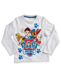 Children's Paw Patrol Sleeved Top - White
