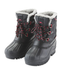 Crane Children's Snow Boots - Black/Pink