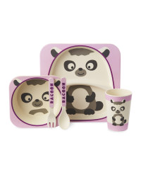 Children's Bamboo Raccoon Dinner Set