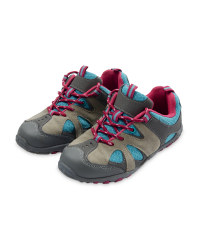Children's Suede Trekking Shoes - Grey / Fuschia