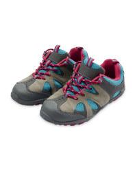 Children's Suede Trekking Shoes - Grey / Fuschia