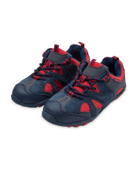 Children's Suede Trekking Shoes - Navy / Red