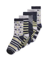 Lily & Dan Kids' Triangle Blue Socks