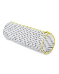 Script Grid Circular Pencil Case