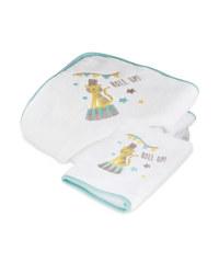 Circus Hooded Baby Towel & Mitt