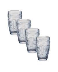 Embossed Clear Water Glasses 4 Pack