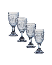 Embossed Clear Wine Glasses 4 Pack
