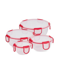 Red Clip 'N' Close Round Food Box