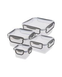 Grey Clip 'N' Close Square Food Box