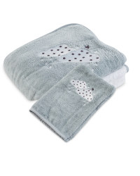 Clouds Hooded Baby Towel And Mitt