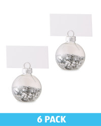 Confetti Placecard Holders 6 Pack - Silver