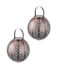 Copper Moroccan Solar Lantern 2 Pack