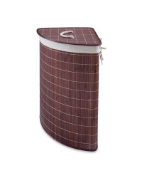 Corner Bamboo Laundry Hamper - Dark