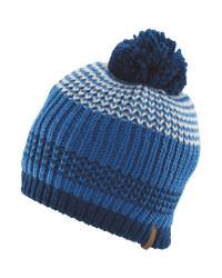 Crane Blue Striped Pompom Hat