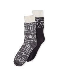 Crane Cabin Grey Socks 9-11