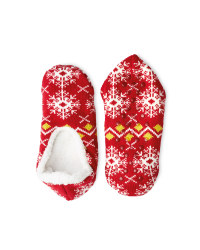 Crane Cosy Slipper Socks 4-8 - Red