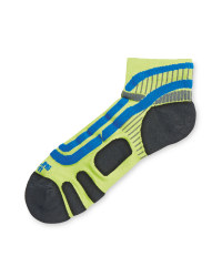 Crane Ergonomic Cycling Socks Pair - Lime/Blue