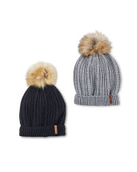 Crane Faux Fur Knitted Hat