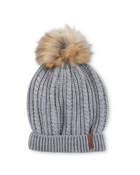 Crane Faux Fur Knitted Hat - Grey