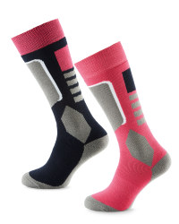 Crane Ladies Ski Socks 2 Pack - Black/Peacock