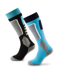 Crane Ladies Ski Socks 2 Pack - Navy/Blue