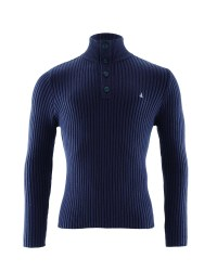 Crane Men's Knitted Sweater - Navy