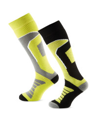 Crane Mens Ski Socks 2 Pack - Black/Lime