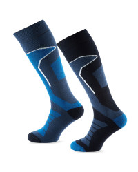 Crane Mens Ski Socks 2 Pack - Navy/Blue
