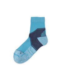 Crane Coolmax Walking Ankle Socks - Blue/Light Blue