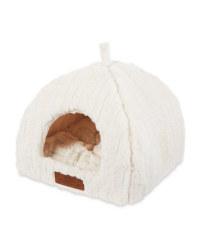 Cream Plush Cat Igloo Bed