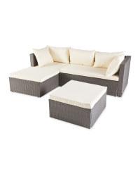 Cream Rattan Effect Corner Sofa