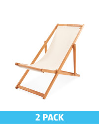 Cream Wooden Deck Chair 2 Pack