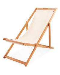Cream Wooden Deck Chair