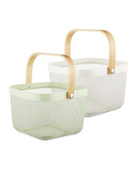 Cream/Green Kitchen Storage Baskets
