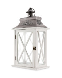 Cream/Grey Indoor Wooden Lantern