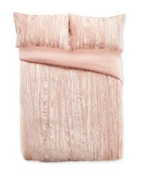 Crinkle Velvet Double Duvet Set - Pink