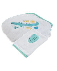 Croc Snap Hooded Baby Towel And Mitt