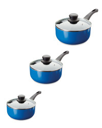 Crofton 3-Piece Saucepan Set - Dark Blue