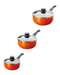 Crofton 3-Piece Saucepan Set - Orange