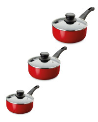 Crofton 3-Piece Saucepan Set - Red